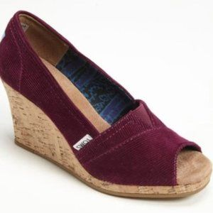 Toms Wine Colored Corduroy Wedges sz W8.5